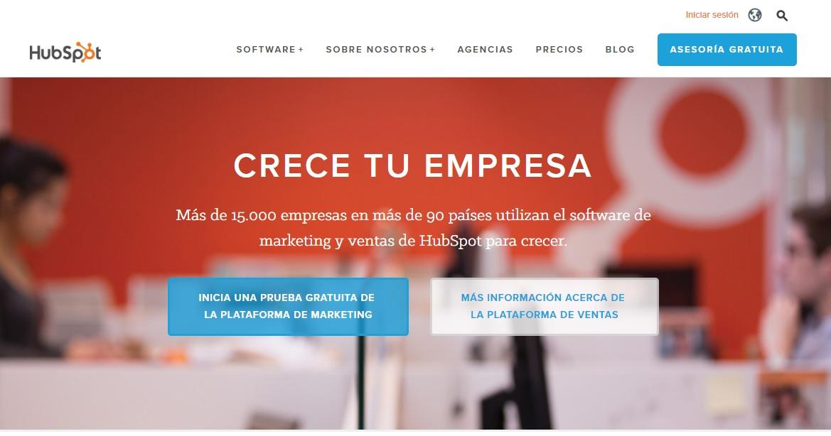 ver la propuesta única de valor de HubSpot al hacer una página web