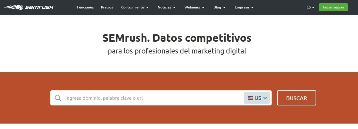 ver la propuesta única de valor de SEMrush al hacer una página web